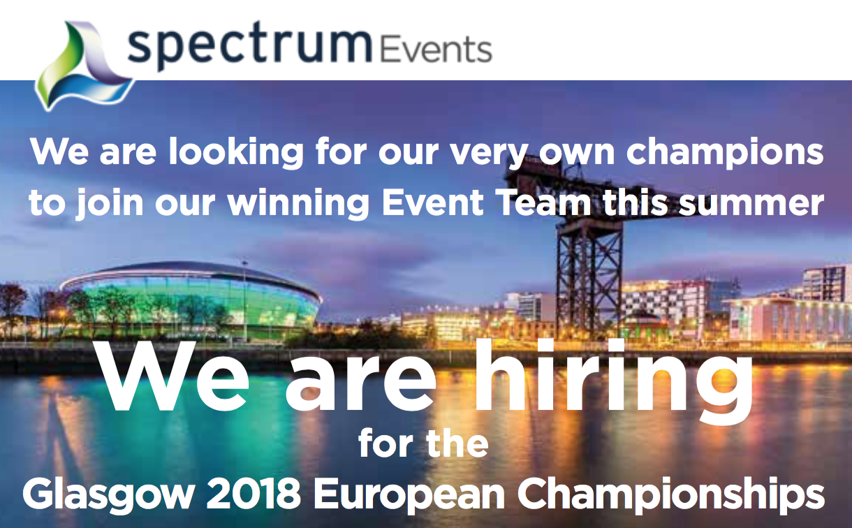 We are hiring for the Glasgow 2018 European Championships